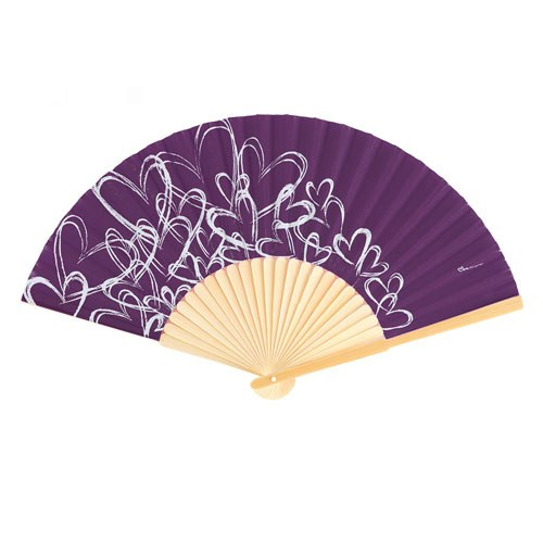 contemporary hearts wedding favor hand fans purple