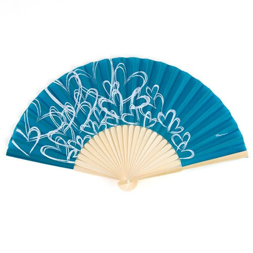contemporary hearts wedding favor hand fans oasis blue