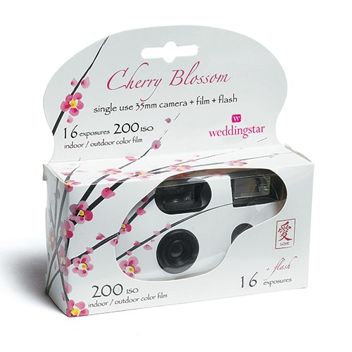 Single Use Cherry Blossom Design Wedding Favor Camera
