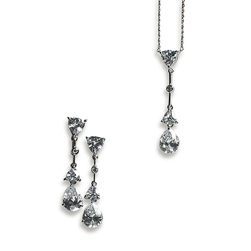 Vintage Silver Necklace and Earring Set – Pear Drop Crystal Pendant