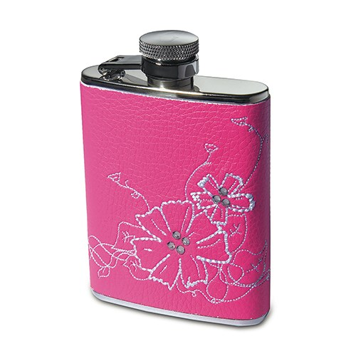 Personalized Fuchsia Pink Faux Leather Wrapped Hip Flask - Monogram Embroidered