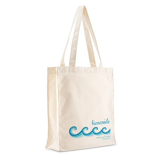 Stylized Waves Personalized 100 per cent Cotton Twill Tote Bag