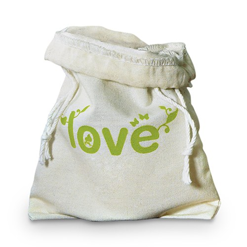 Green Wedding Mini Drawstring Favor Bag made of 100% Organic Cotton