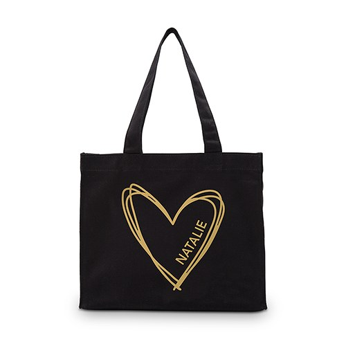 Personalized Heart Black Cotton Canvas Tote Bags