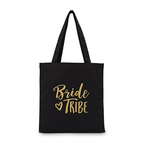 Bride Tribe Black Cotton Canvas Tote Bags