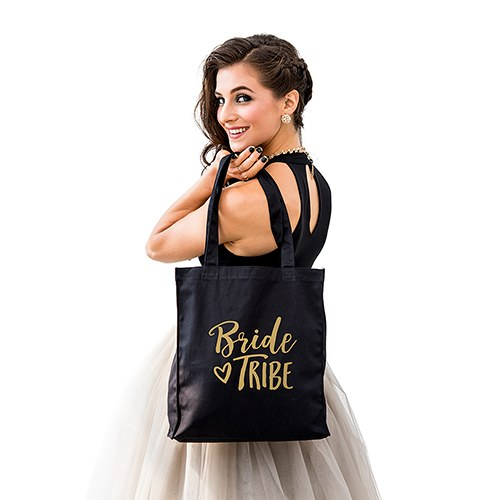 Large Black Cotton Canvas Wedding Tote Bag For Bridesmaid- Bride Tribe 5c6f605f1a