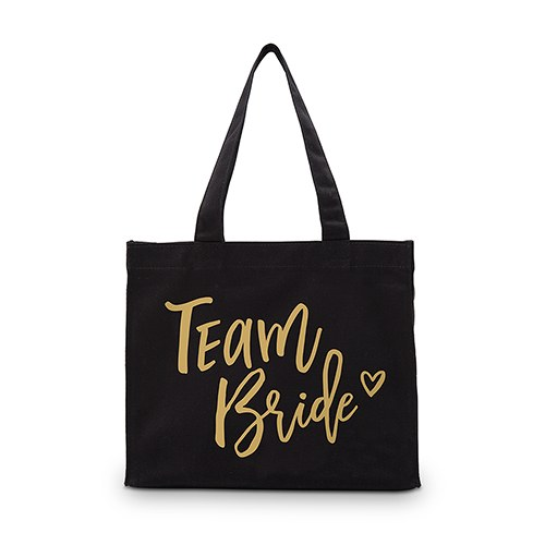 Team Bride Black Cotton Canvas Tote Bags