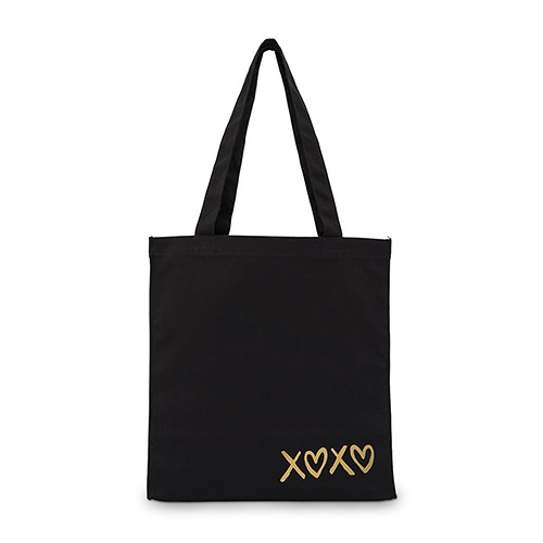Women s Large Black Cotton Canvas Fabric Tote Bag- XOXO - Confetti.co.uk 001066bd2