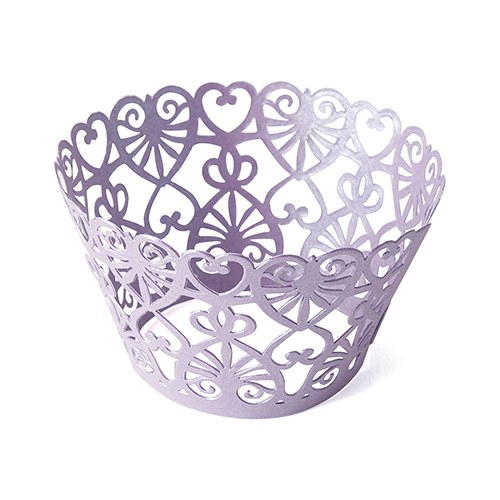 Lace Hearts Filigree Paper Cupcake Wrappers - Confetti.co.uk