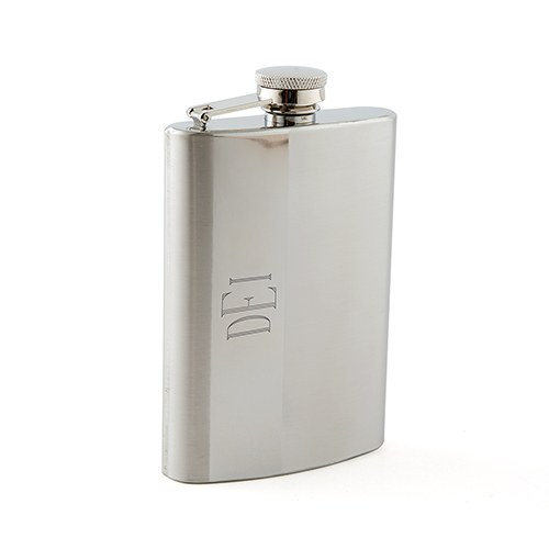 Large Personalized Gradient Stainless Steel Hip Flask – Monogram Engraving