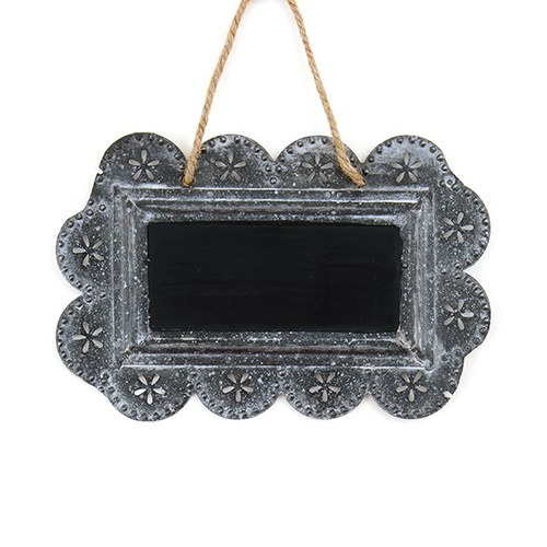 Small Tin Signs With White Wash Embossed Scalloped Framing And Painted Blackboard Interior