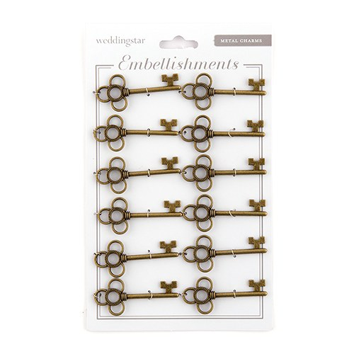 Antique Key Charm Style 3 - Intertwined Rings