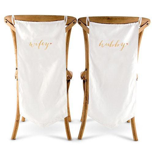 Wifey and Hubby Embroidered Chair Banner Set