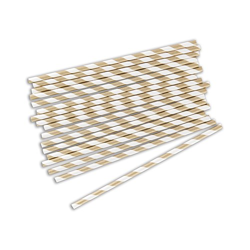 Sippers Candy Striped Paper Straws   Metallic