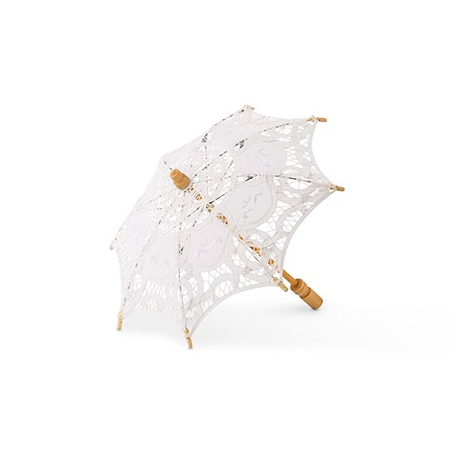 White Battenburg Lace Parasol   Small