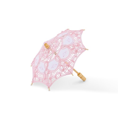 Vintage Pink Battenburg Lace Parasol   Small