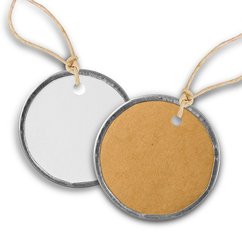 Vintage Round Metal Rim Tags with Jute Ties