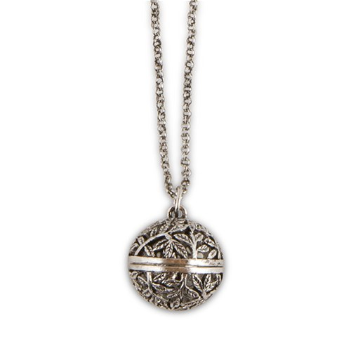 Antique Silver Locket Necklace – Filigree Vine Orb Design