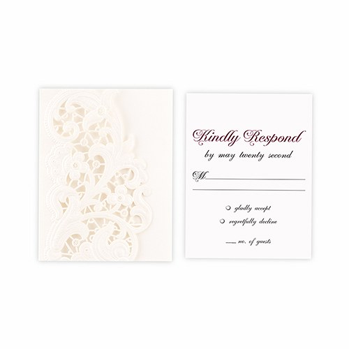 Lace Opulence Laser Embossed Accessory Cards with Personalization