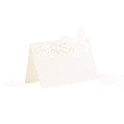 Floral Elegance with Butterfly Laser Embossed Place Cards