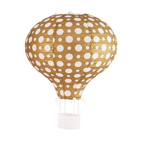 Hot Air Balloon Paper Lantern Set In Gold And White 3