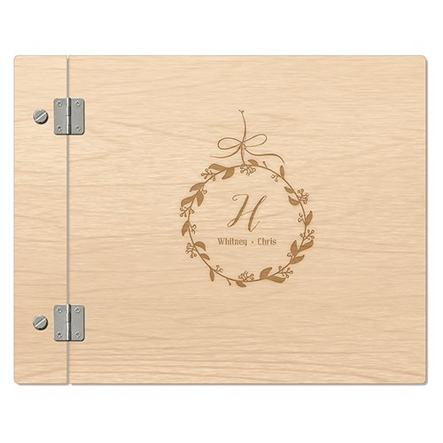 Personalized Wooden Wedding Guest Book - Botanical Wreath