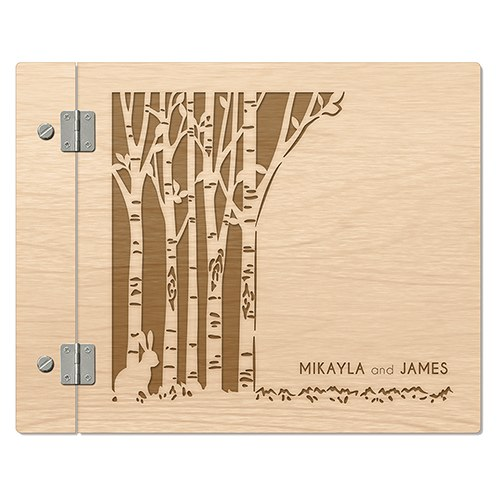 Woodland Pretty Personalized Wooden Guest Book