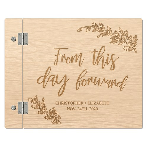 Personalized Wooden Wedding Guest Book - From This Day Forward