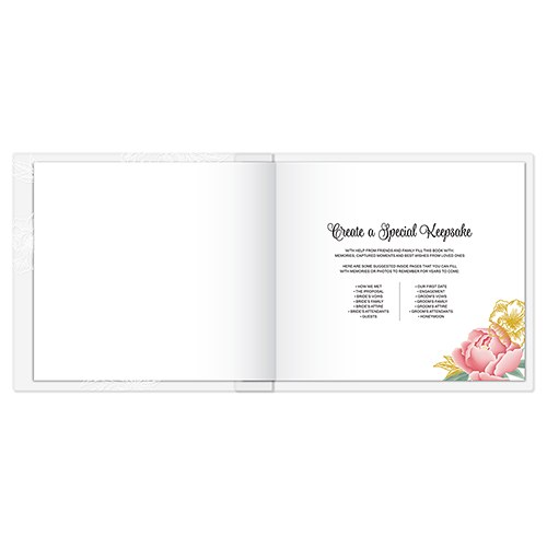 Modern Floral Personalized Wedding Guest Book With Clear Acrylic Cover