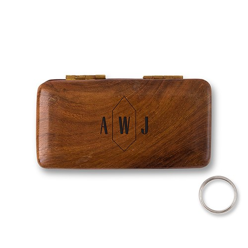 Pocket Size Wooden Wedding Ring Box - Geo Monogram Etching