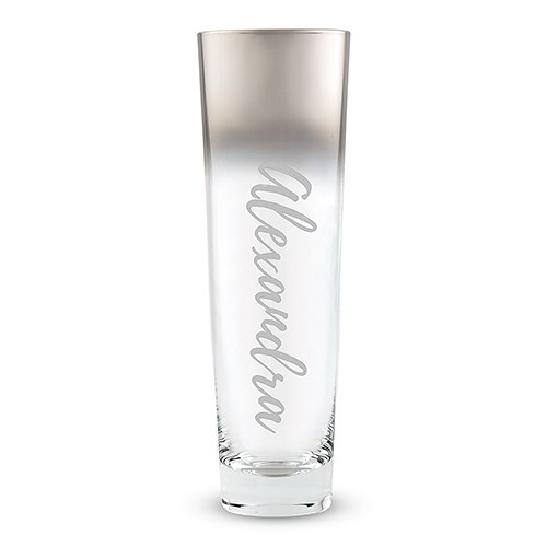 Modern Stemless Flute with Silver Ombre Fade Calligraphy Text Etching