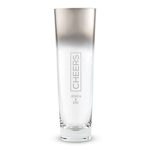 Modern Stemless Flute with Silver Ombre Fade Cheers Etching