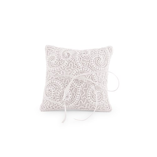 White Beaded Miniature Wedding Ring Cushion Confetticouk