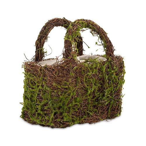 Faux Moss And Wicker Basket With Handles And Liner The Knot Shop