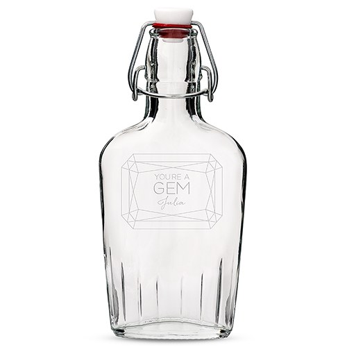 Personalized Clear Glass Hip Flask – You're a Gem Monogram Engraving