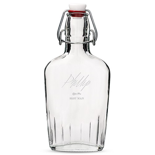 Personalized Clear Glass Hip Flask – Key Engraving