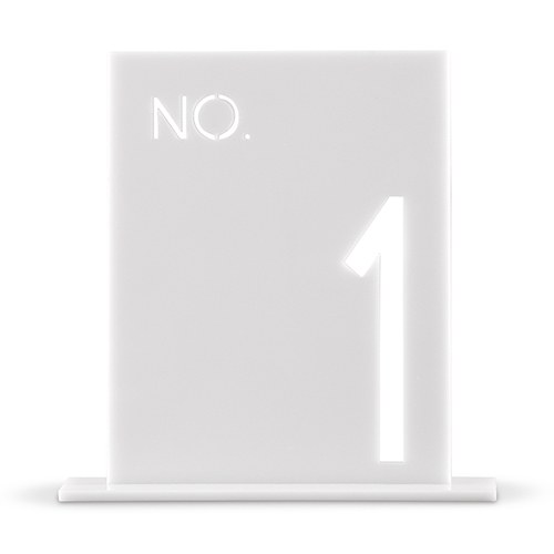 White Acrylic Table Number   No. In Block Style