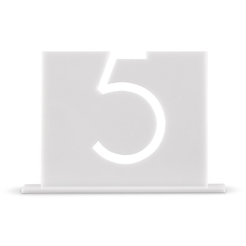 White Acrylic Table Number Top Aligned Style