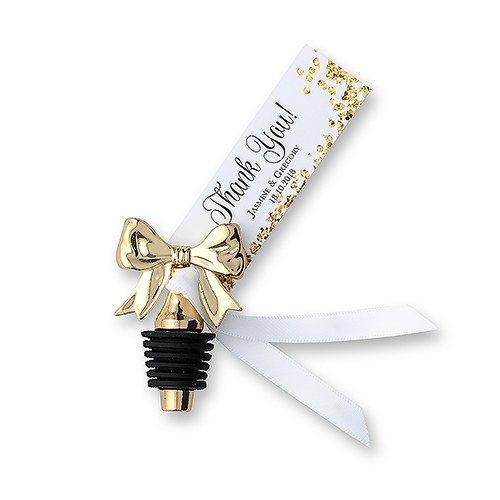 Dainty Gold Bow Wedding Wine Bottle Stopper Favor