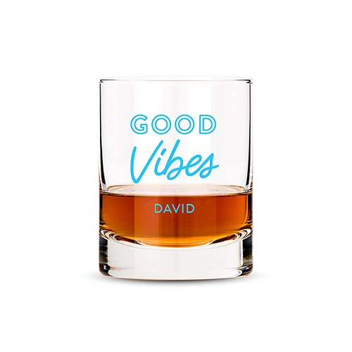 Personalized Whiskey Glass - Good Vibes Print