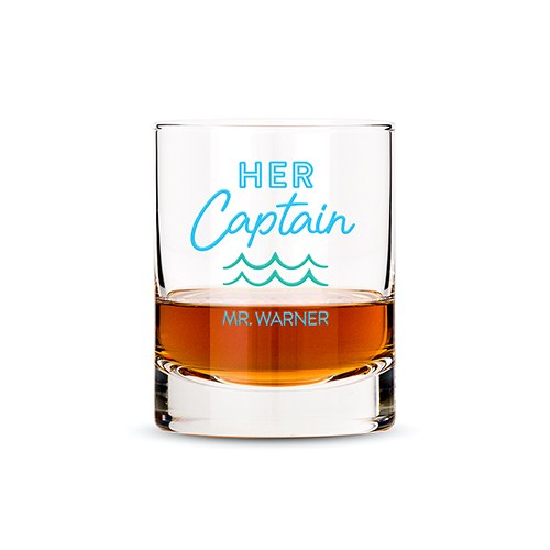 Personalized Whiskey Glass - Her Captain Print