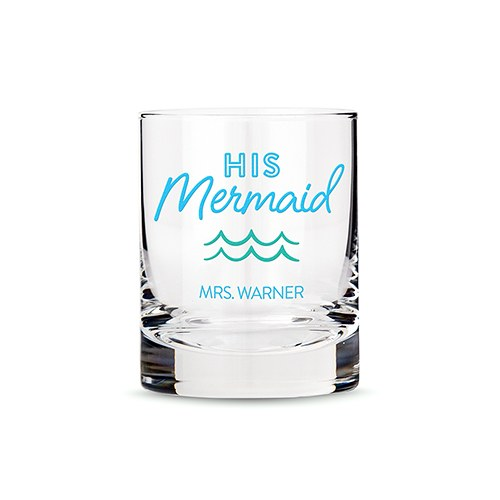 Personalized Whiskey Glass - His Mermaid Print