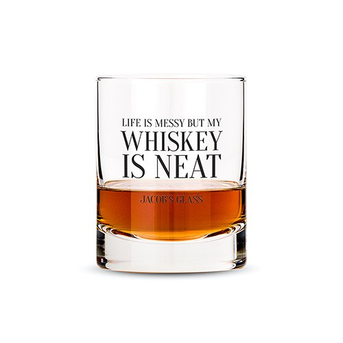 Classic Rocks Glass - Whiskey is Neat Printing