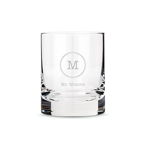 Classic Rocks Glass - Typewriter Monogram Etching