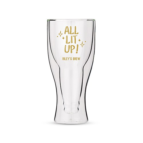 Personalized Double Wall Beer Glass – All Lit Up Print
