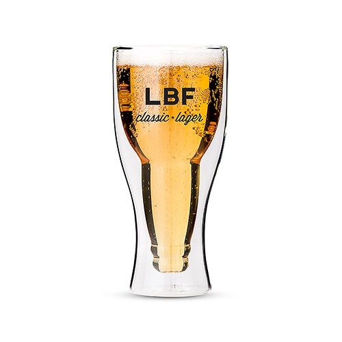 Personalized Double Wall Beer Glass – Classic Lager Print