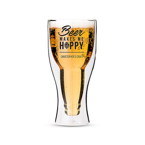 Double Walled Beer Glass - Beer Makes Me Hoppy Printing