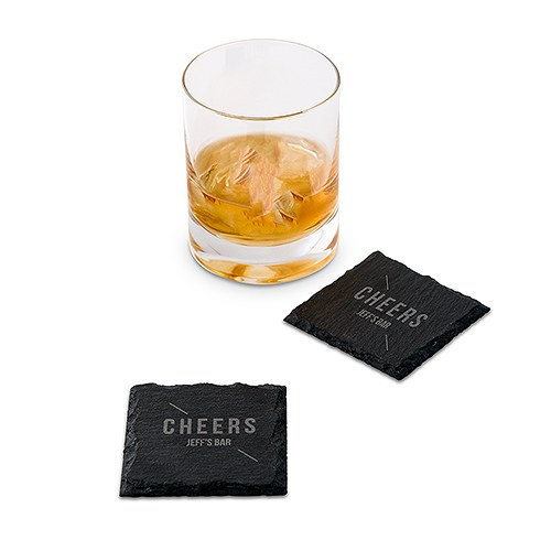 Set of Square Slate Coasters - Linear Cheers Etching