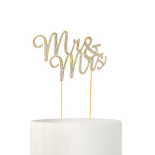 Crystal Rhinestone Mr & Mrs Cake Topper - Gold