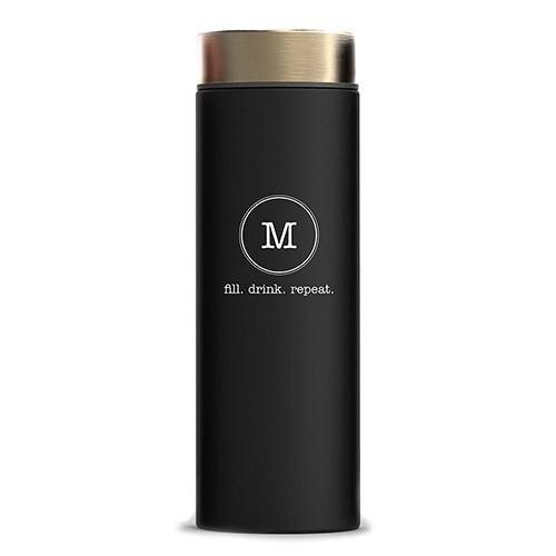 Personalized Black Stainless Steel Travel Bottle – Circle Monogram Print